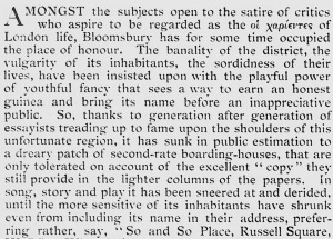 'The Bohemian in Bloomsbury'. Saturday review of politics, literature, science and art. Sep 17, 1904.