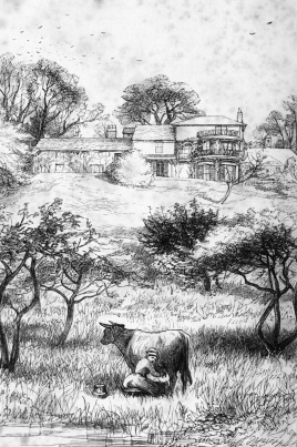 Frontispiece to Trollope's 1862 novel, Orley Farm: drawing by John Millais.